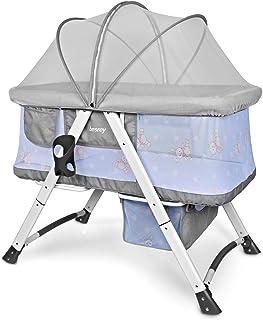 Besrey Stubenwagen und Reisebett. Es ist mit einer Matratze, Kissen und Moskitonetzen ausgestattet. Grau Grau