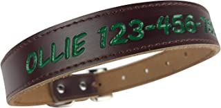 Personalized Dog Collar - Custom Leather with 4 Bold Text Styles and 8 Text Colors, Brown or Black