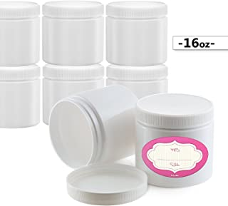 Pack of 8-16 Ounce White Refillable Jars - Large Empty Cosmetic Containers with Lids & Labels - Refillable BPA-Free - Round Slime Plastic Pots - for Body Butter, Bath Sugar & Salt Scrubs and More
