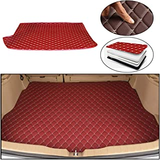 Maite Custom Car Trunk Mats for Jaguar E-PACE 2018 Leather Car Boot Mats Waterproof Cargo Liner Protector Cover Red