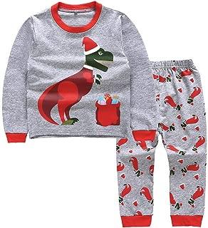 Toddler Baby Boys Girls Christmas Pajamas Cartoon Dinosaur Long Sleeve Tops Pants Cotton Outfits Set