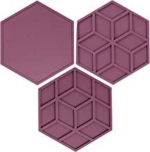 Bulckrew Hexagon Silicone Trivets Mats Hot Pads 3pcs for Kitchen, Silicone Pot Holders Cup Insulation Mat for Hot Pots and...