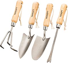 YAPASPT Gardening Tools - 4 Piece Heavy Duty Garden Hand Kit - Rust Resistant Garden Tool Sets with Trowel Cultivator Weeder for Flower and Vegetable Plants Care