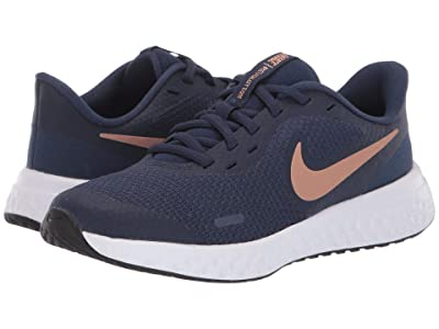 Nike Kids Revolution 5 (Big Kid) (Midnight Navy/Metallic Red Bronze) Boys Shoes