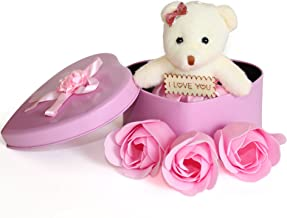 TIED RIBBONS Valentine'S Gift For Girlfriend Wife Women Her Lover Girl (Heart Shaped Box With Teddy And Roses And Wooden Tag)