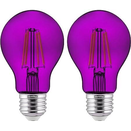 Sunlite 81081 LED Filament A19 Standard Colored Transparent Dimmable Light Bulb, 2 Pack, Purple, 2 Count