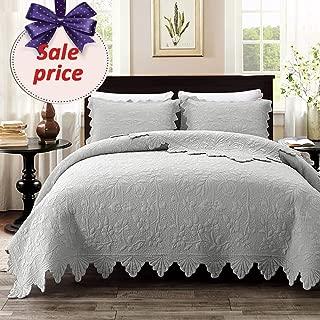 Brandream Luxury Farmhouse Bedding Set Grey Quilt Set Queen Size 100% Cotton Quilted Bedspread Coverlet Set(90 x 96)