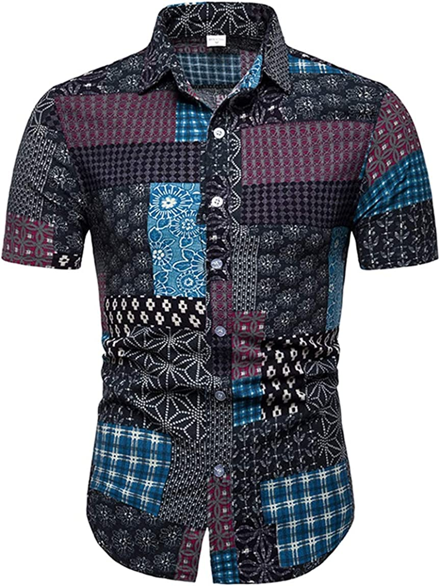 Men's Large Size Shirt Fashion Casual Classic Plus Fat Printing Slim Short Sleeve Simple Wild Shirt Large Size