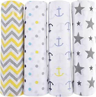 haus & kinder Chevron Stripes Cotton Muslin Swaddle Wrap for New Born Baby (Pack of 4, Anchor, Dots, Star Grey, Yellow)