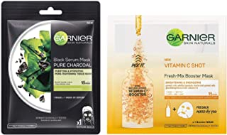 Garnier Skin Naturals, Charcoal, Face Serum Sheet Mask (Black), 28g & Garnier Skin Naturals, Fresh Mix Vitamin C, Face Ser...