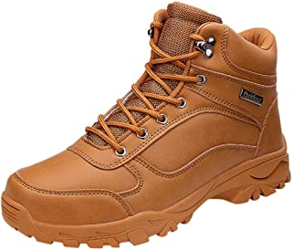 〓COOlCCI〓Men's Mid Waterproof Ankle Boot, Waterproof Hiking Boot Lace up Chelsea Boot Motorcycle & Combat Boot Safety