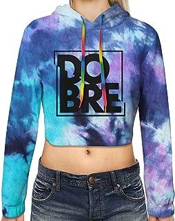 Dobre Brother Logo Women's 3D Print Crop Top Hoodie Long Sleeve Tie Dye Pullover Sweatshirt