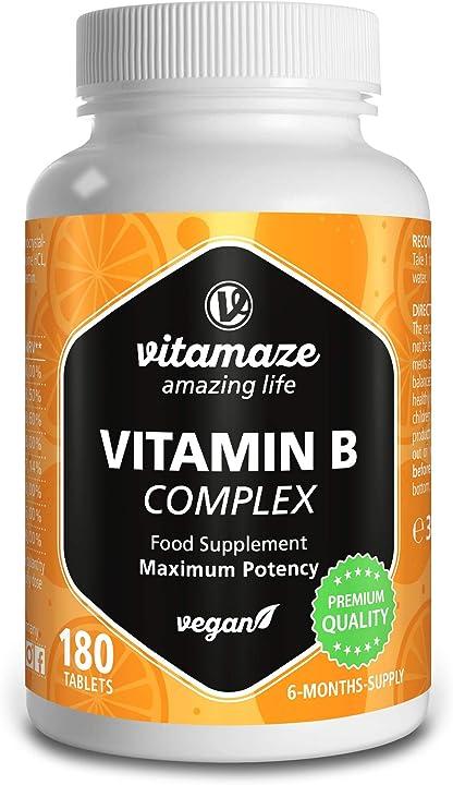 Integratore di vitamine b vitamaze® vitamina b complex alto dosaggio, 180 compresse vegan 6 mesi di assunzione 6666