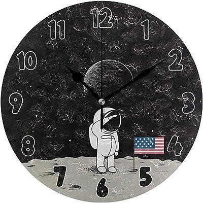 Astronauta Space Round Wall Clock Patrón De Dibujos Animados ...