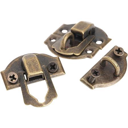 2 x Jewellery Box Clasp Catches Fixing Tacks 27mm x 16mm Fasteners Bronze