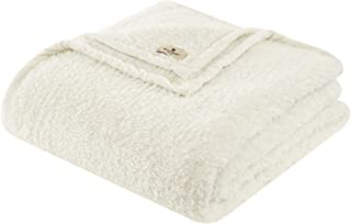 Woolrich Burlington Luxury Berber Blanket Ivory 6690 Twin Size Premium Soft Cozy Soft Berber For Bed, Coach or Sofa