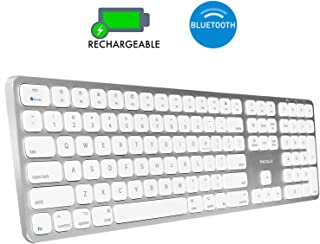 Macally Bluetooth Wireless Keyboard for Mac Mini, iMac Pro/iMac, MacBook Pro/Air, Apple Computer Laptops, iPad, iPhone - Slim Full-Size Metal Frame & Extended Numeric Keypad - Silver