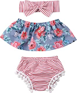 gllive Baby Girls Summer 3pcs Clothes Outfit Set Floral Printed Sleeveless Crop Top+Stripe Tassel Bottom Short Pants+Bowkn...