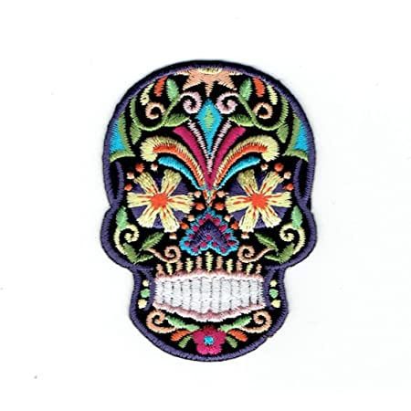 Skeleton Tattoo Patch Ornate Skull Dia de los Muertos Large 7 X 5 Embroidered Sugar Skull Applique Patch Biker Patch Day of the Dead