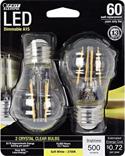 Feit Electric - Decorative Clear Glass Filament LED Dimmable 60W Equivalent Soft White (2700K) Classic A15 Light Bulb, Pac...