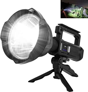 Rechargeable Spotlight Flashlight, 90000 Lumen LED Super Bright Searchlight, 4 Modes IPX5 Waterproof Work Lights with Trip...