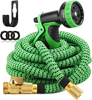 """Gobetter Garden Expandable Hose, 100ft Water Retractable Hose with 9 Function Spray Hose Nozzle, 3/4"""" Solid Brass Connecto..."""