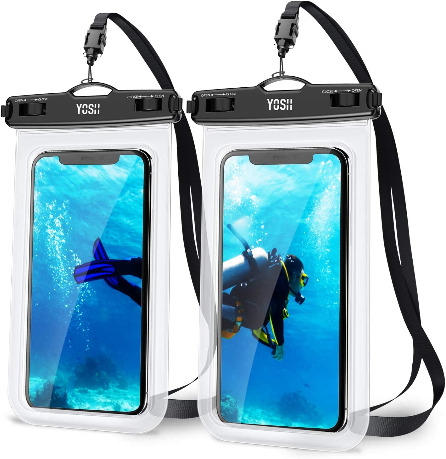 YOSH Waterproof 7.0 Inch Phone Case Universal Water Proof Phone Pouch IPX8 Dry Bag Compatible for iPhone 12 Pro Max 11 XR XS X 8 7 6 SE Galaxy Pixel for Beach Kayaking Travel Bath Underwater 2-Pack