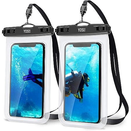 2枚セットYOSH スマホ 防水ケース IPX8認定 完全保護 密封 お風呂用 最大7.0インチ対応 iPhone 12mini 12シリーズ 11 Pro Max X XR XS 8 7 Androidに対応 水中 撮影 タッチ可 風呂 海 プール 釣り 雨 潜水 水泳 雪 温泉適用