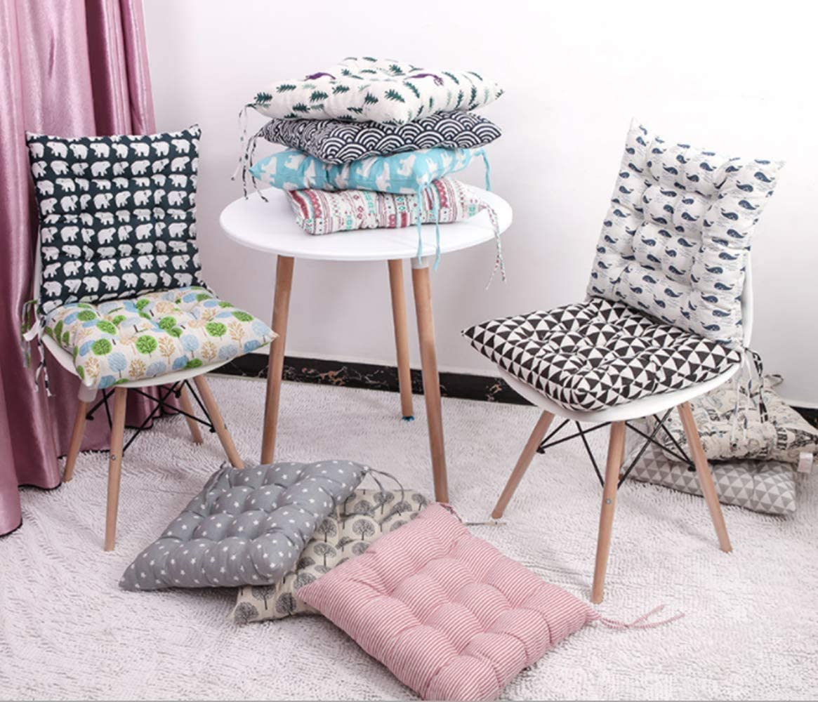 Uministyle 4pcs Padded Cushion Chair Seat Pads Chair Seat Cushion Pads for Dining Chair Seat Pad Dining Room Garden Kitchen Office Chair Cushions 40x40 cm with ties blue+coffee