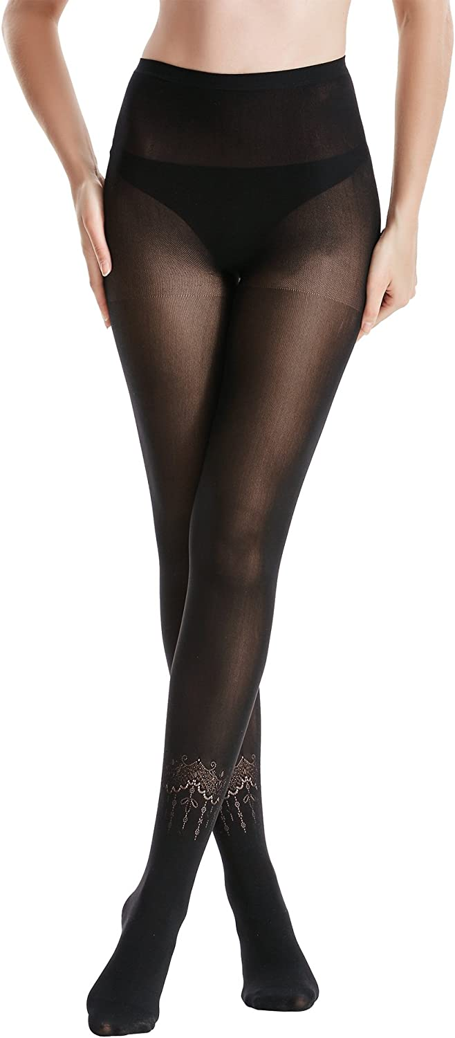 Zeraca Women's 80 D Sheer to Waist Pattern Footed Opaque Tights 1 or 3 Pack