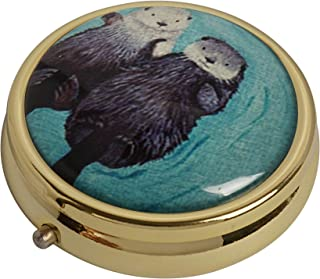 YunShop Two Lovely Sea Otter Custom Image Stainless Steel Gold Glass Pill Case Portable Pocket Travel Pill Box Storage Container