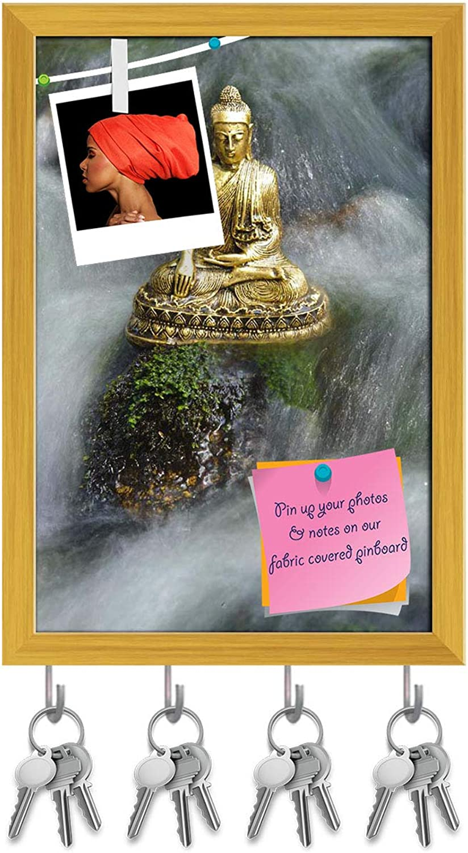 Artzfolio Buddha Figure Key Holder Hooks   Notice Pin Board   golden Frame 12 X 17.6Inch