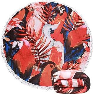 Genovega Thick Terry Round Beach Towel Blanket with Fringe Hawaiian Tropical Aloha