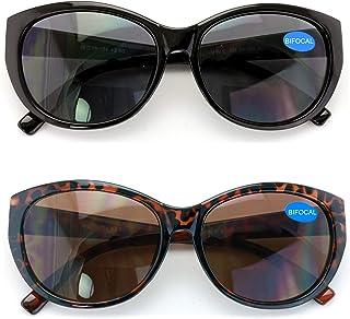 2 Pairs Women Bifocal Reading Sunglasses Reader Glasses Cateye Vintage Jackie Oval