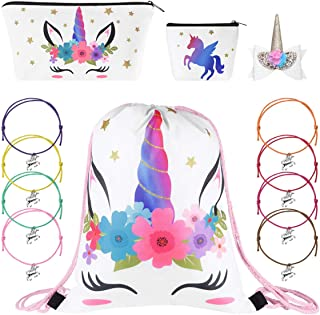 Drawstring Bag Unicorn Set Makeup Bag Coin Purse Hair Clip and Bracelets Gifts Set for Kids Party (White)
