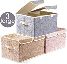 Prandom Large Foldable Storage Bins with Lids Fabric Decorative Storage Box Cubes Organizer Containers Baskets with Cover Handles Removable Divider for Bedroom Closet Nursery 17.3x11.8x9.8 Inch 3 Pack