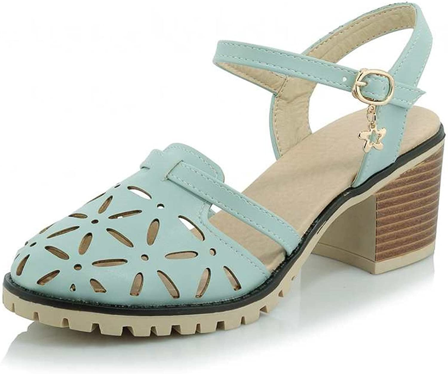 Micca Bacain New Round Toe Cut-Outs Platform Chunky Heels Women Buckle Sandals Summer Casual Plus Size 34-43