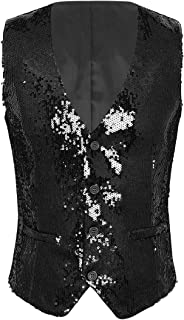 Men's Shiny Sequins V-Neck Vest Paillette Waistcoat Slim Fit Business Party Dress Suit