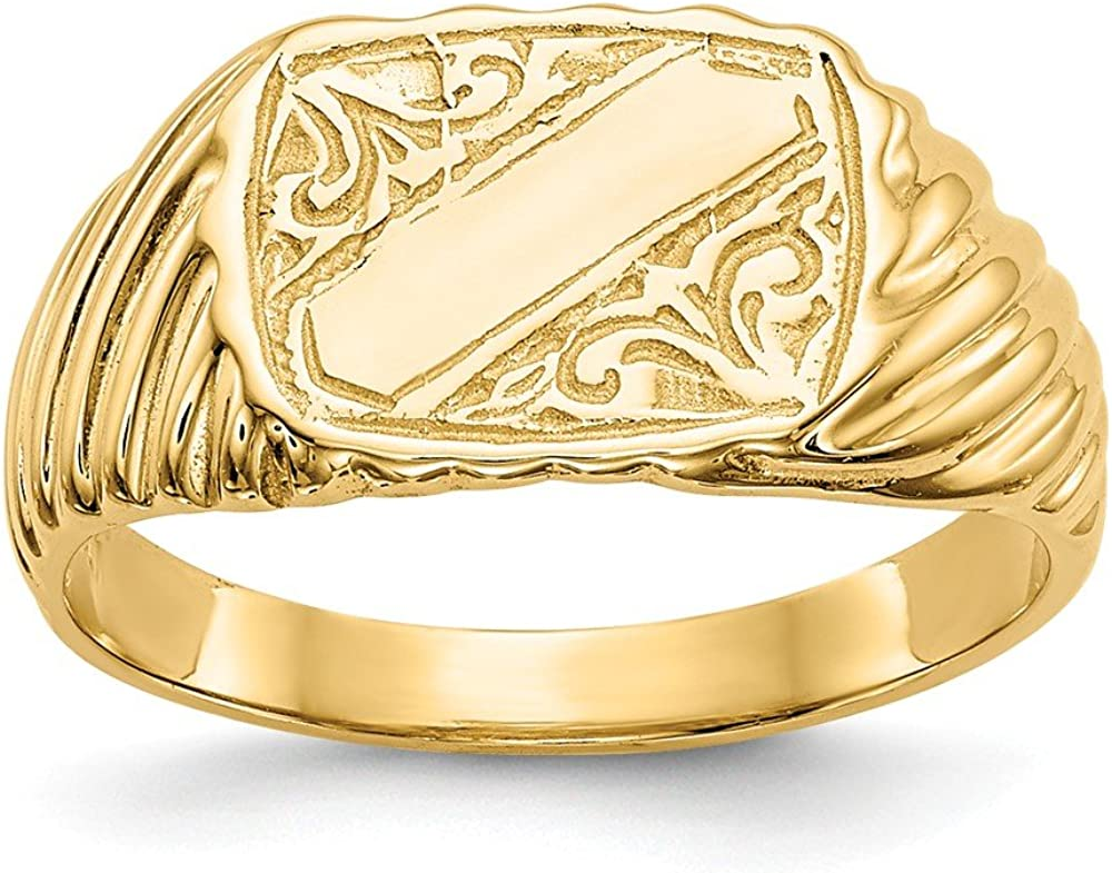 14k Yellow Gold Baby Rectangle Signet Stripes Band Ring Size 2.50 Fine Jewelry For Women Gifts For Her