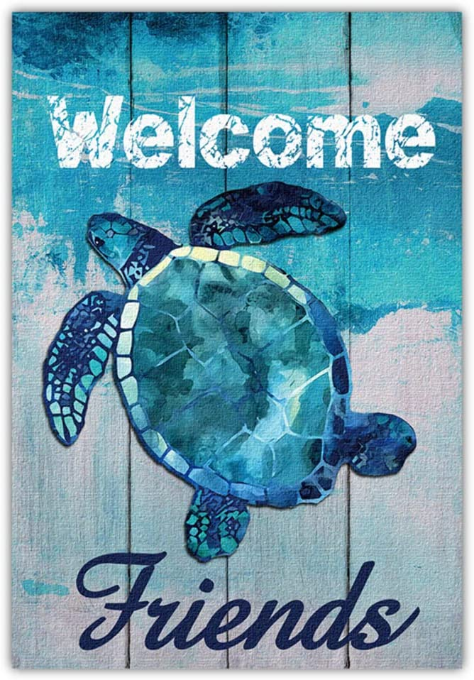 Meltelot Welcome To Undersea World Garden Flag, Friends, Turtle Beach Yard Porch and Decoration for Outdoor, Vertical Double Side 12x18 Inch