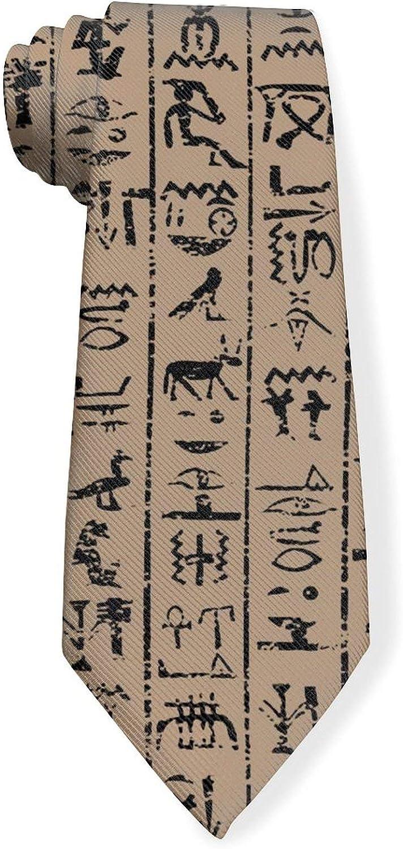Egyptian Hieroglyphics Mens Classic Color Slim Tie, Men's Neckties, Fashion Boys Cravats