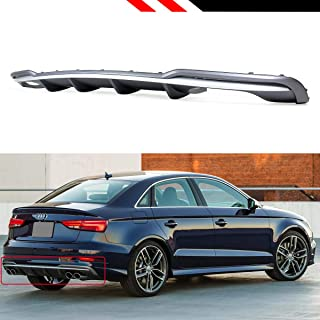 Fits for 2017-2019 Audi A3 4 Door SLINE S Line Sedan 8V S3 Style Quad Exhaust Shark Fin Rear Bumper Diffuser Valance