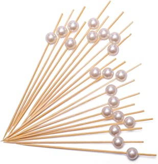 "Cocktail Picks Handmade Bamboo Toothpicks 4.7"" Multicolor Party Supplies 200 Counts in White Pearl"