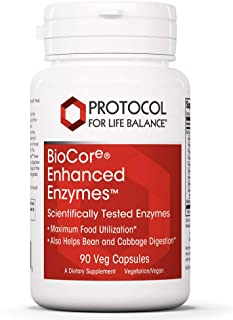 Protocol For Life Balance - BioCore Enhanced Enzymes - Digestive Support - Maximum Food Utilization Like Bean and Cabbage ...