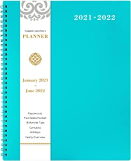 "2021-2022 Monthly Planner - 18-Month Planner with Tabs, Pocket, Label, Contacts and Passwords, 8.5"" x 11"", Jan. 2021 - Jun..."