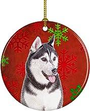 Red Snowflakes Holiday Christmas Alaskan Malamute Ceramic Ornament KJ1182CO1