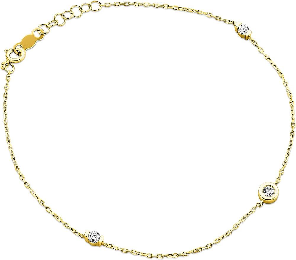 Orovi bracciale per donna in oro giallo 9 kt /375(0,7gr) con diamanti taglio brillante ct 0.14 OR81221B