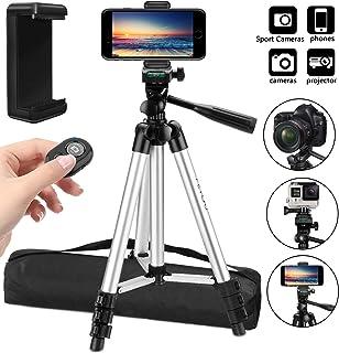 PEYOU Trípode Móvil 106cm (42) [4 en 1] Trípode Cámara con Obturador Remoto Bluetooth Soporte de móvil y Bolsa Trípode para iPhone X /8 Plus /7/6 Plus HUAWEI Cámara DSLR Canon Nikon Sony