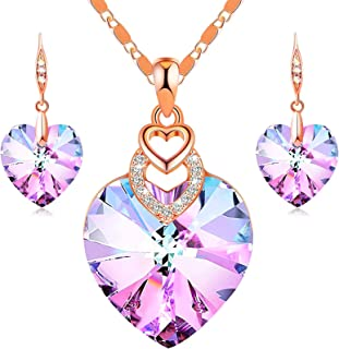 PLATO H 3 Heart Jewelry Set Crystals Christmas Gift for for Women Girls Pendant with Elegant Box Anniversary Mothers Day G...