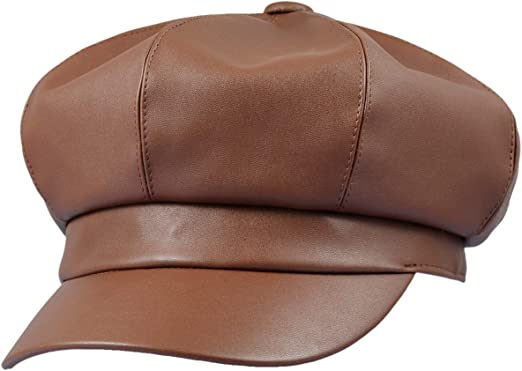 GEMVIE Women Wool Knit French Newsboy Hat Solid Winter Leather 8 Panels Visor Beret Hat